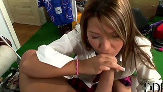 Long haired brunette teen tanja gives hot blowjob