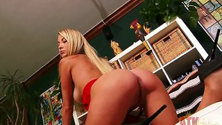 Long Haired Blonde Mandy Armani Teases And Strips