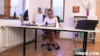 Busty blonde in glasses feels really frisky when she's alone in room