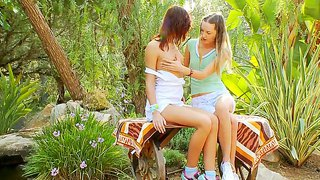 Two Young And Tasty Angels Ivana And Natasha Embrace Each Other In The Wood