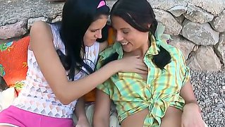 Two So Sexy And Wonderful Brunette Lesbians Mara And Mia Play With Their Tits Outdoor