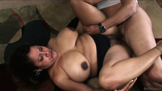 Latina mom with big fat titties gets a load in her hairy pussy