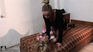 Blonde gets dominated and is tied up for some upcoming dildo action