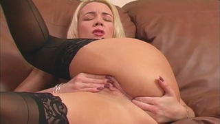 Blond Babe Gets Crazy Masturbating With Two Hands