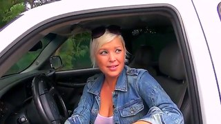 Super Hot Blonde Milf With Huge Breasts Came To Ask Neighborhood Guy To Wash Her Car