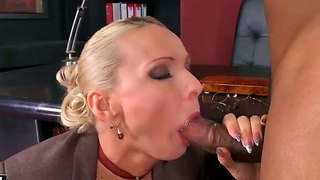 Blonde Milf Fucks With Two Perverted Black Men