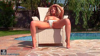 Faye barts is a fair haired teen cutie with small boobs. frisky chick shows her cameltoe before she loses her panties by the pool. she plays with her snatch in the open air. watch faye barts go solo in the sun.