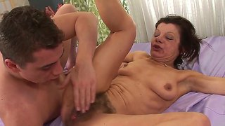 Mature Ludmila Lets Her Hairy Pussy In Hot Stud's Hands