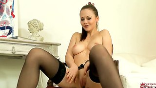 Self-served chick in black stockings tina kay