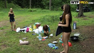 The wild girls get rid of their clothes and put into action their blowjob abilities