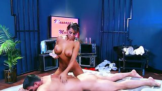Stunning Angel Madison Ivy Plays A Horny Masseuse, Oiling Herself And Her Partner Toni Ribas And Seducing Him