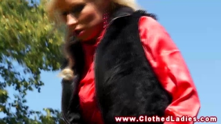 Euro couple fuck in public park whille dressed