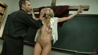 Blonde Crucified And Disciplined By The Priest