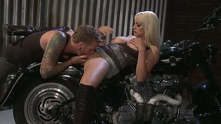 Stacked Blonde In High Boots Stormy Daniels Gets Nailed On A Motorbike