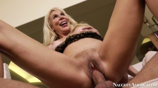 Erica lauren's hairy bush gets banged by his young tool and she sucks it