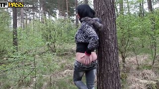 Amateur Brunette Ella Demonstrates Her Imposing Big Boobs And Perfectly Shaved Pussy In The Forest