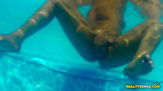 Mayara Shelson Dips Int He Pool And Gets Licked