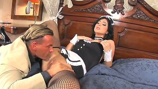 Seductive brunette housekeeper stracy stone gets fucked in the luxury hotel room