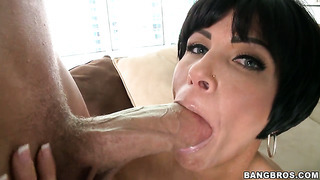 Shay fox is ready to polish man's sturdy sausage with her warm hands all night long