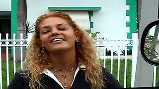 Tanned Bitch With Curly Hair And Wide Mouth