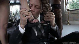 Rocco Siffredi Playing With Feet Of Two Gorgeous Girls
