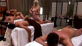 Blond Schwanz Vierer Massage