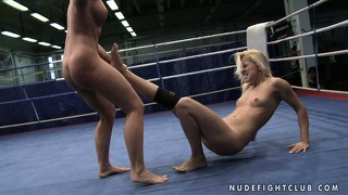 Brandy and kathia are naked and still groping each other in the ring