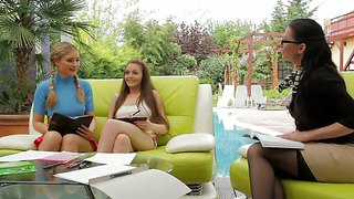 Three Hot Girls Nelly Sullivan, Queenie And Tera Bond Are Doing Homework And Getting Hot!