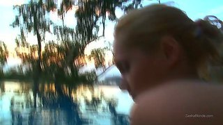 Petite And Very Sexy Babe Sasha Makes Gorgeous Blowjob In The Swimming Pool