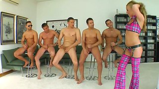Victori takes on five cocks simultaneously