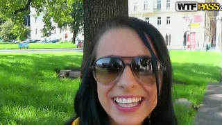 Pick up of brunette angelica in the park