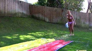Sexy Slip And Slide With Two Blonde Beauties Xxx