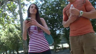 Skinny College Chick Ashley Jade Pick Uped In The Park For A Ride In The Bus