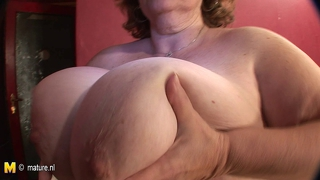 Huge Breasted Mama Playing With Her Toy