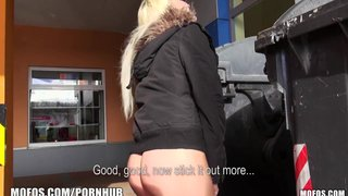 Playful blonde amateur is picked up and fucked in the car park