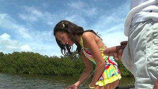 The sympathetic and amazing prostitute amia miley makes a good deep blowjob to her partner outdoor