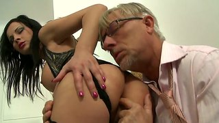 Oldie Christoph Clark Gets Footjob From Abbie Cat