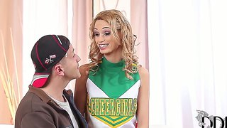 Slim Cheerleader Erica Fontes Likes Man's Hand On Her Tiny Pussy