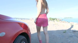 Lovely Masturbation Scene Of A Pretty Hottie Katie With Small Perky Boobies By A Red Car