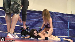 Watch madlin and kitty cat fight from behind the camera guy's back in this backstage vid