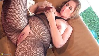 Busty Blonde Slut Masturbating And Riding A Dildo