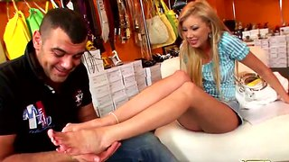 Blondie donabell teases tony with her feet