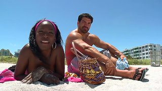 Handsome Playboy Meets Ebony Gemini At The Beach And Fucks Her In The Shower
