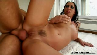 Gal puts oil on her big boobies before a cock penetrate her