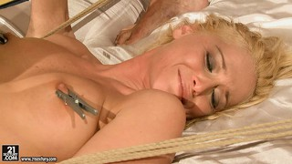Kathia pinches her nipples, gets spanked, toyed, and finally fucked