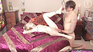 Pink australian pussy toyed and fucked on the bed
