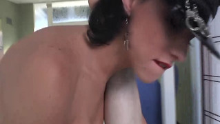 Tranny in lingerie assfucked deeply