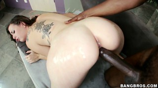 Black monster cock plowing a tight white pussy without any mercy