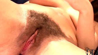 Brunette Luscious Eden With Hairy Twat Masturbates On Couch
