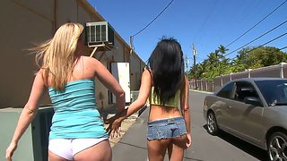 Amateur girls amy and roxi flashing thong booties